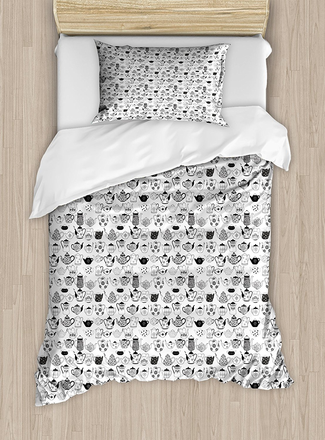 Patterned Duvet Cover Us 113 36 10 Off Tea Party Duvet Cover Set Floral Patterned Cups With Different Designs Monochrome Timeless Kitchenware Decor 4 Piece Bedding Set In