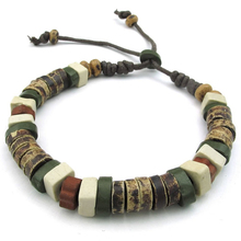 Jewelry Men's bracelet, tribal, 18-23cm adjustable size, porcelain rope, green brown