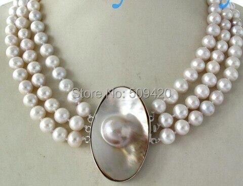 W и O658 >> 3 пряди 9 мм крем круглый пресной воды жемчужное ожерелье Mabe блистерная застежка