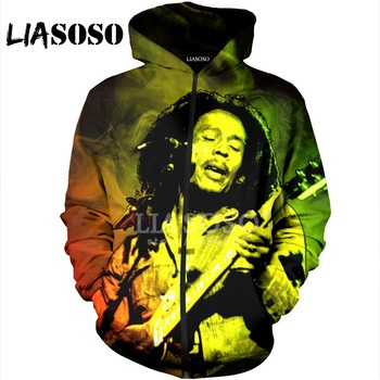 LIASOSO 3D Print Women Men Reggae Singer Bob Marley Hooded pull over Hoodies Sweatshirts Zipper Jacket Harajuku Coat X1572
