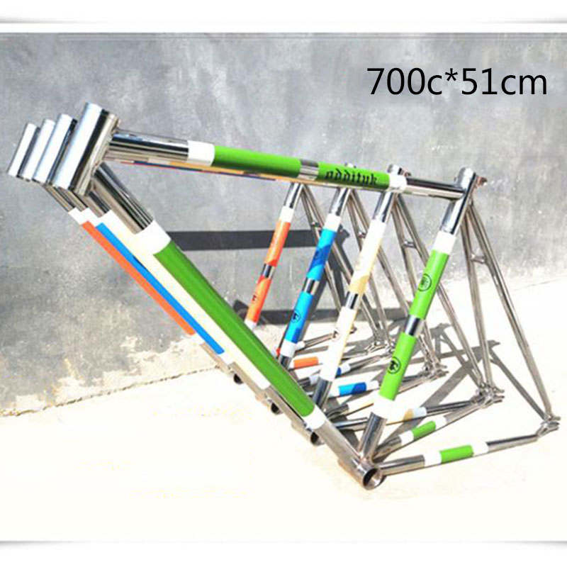 700C 51cm Molybdenum <font><b>Steel</b></font> Road Bike <font><b>Frame</b></font> Plating Retro Cruisers Fix Gear Straight Tube Bicicletas <font><b>Frame</b></font> image