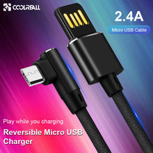 Coolreall Reversible USB Micro cable 2.4A Phone Fast Charge Cable for Samsung Xiaomi Android Mobile data