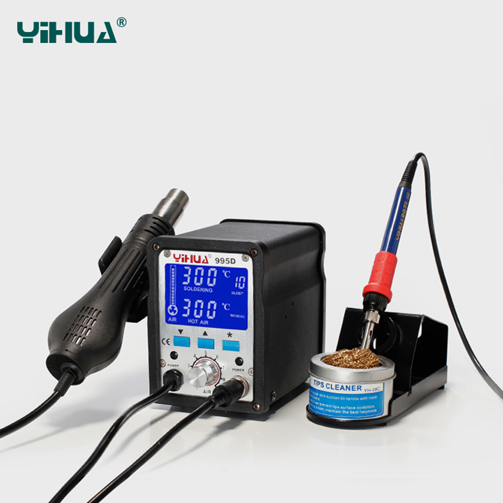 YIHUA 995D BGA Rework Station Hot Air Gun Soldering Station 2 in 1 Iron Solder Soldering Heat Gun 220V or 110V EU/US PLUG CE IS yihua soldering station 995d hot air gun soldering iron motherboard desoldering welding repair 110v 220v 2 in 1 electric iron
