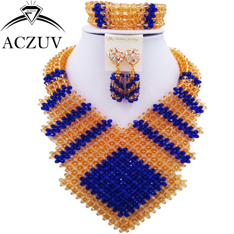 ACZUV Latest African Beads Jewelry Set for Women Royal Blue and Gold Nigerian Wedding Necklace CFKK001