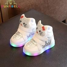 Enfants Casual Chaussures Allumées Filles Lumineux Sneakers Enfants Bonjour Kitty Chaussures Avec Led Lumière Bébé Fille Belle Bottes C218