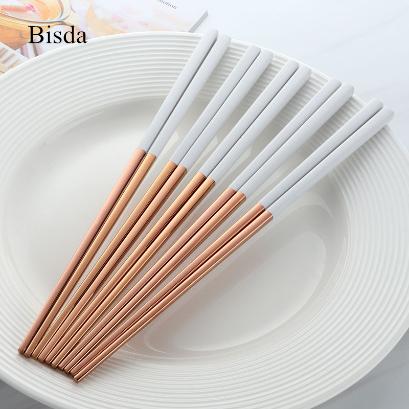 5 pares palillos Titanize Acero inoxidable oro chino chopsitcks Set negro Metal palillos conjunto utilizado para Sushi vajilla