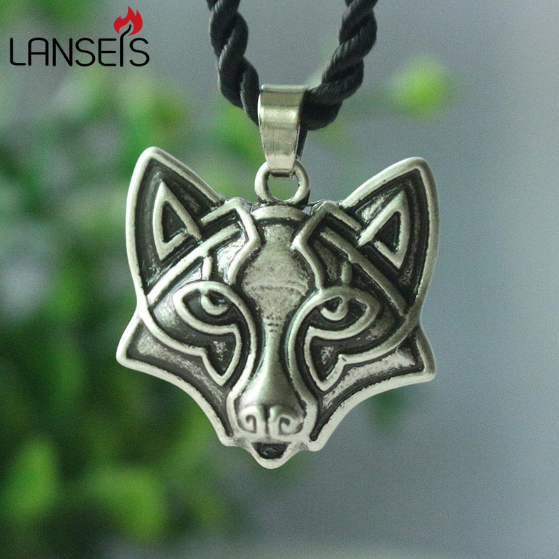 lanseis 1pcs celt Fox Antique Silve Σλαβικό κεφάλι αλεπού κολιέ άνδρες κρεμαστό κόσμημα ζωηρόχρωμος τατουάζ ρετρό χειροποίητο κόσμημα totem