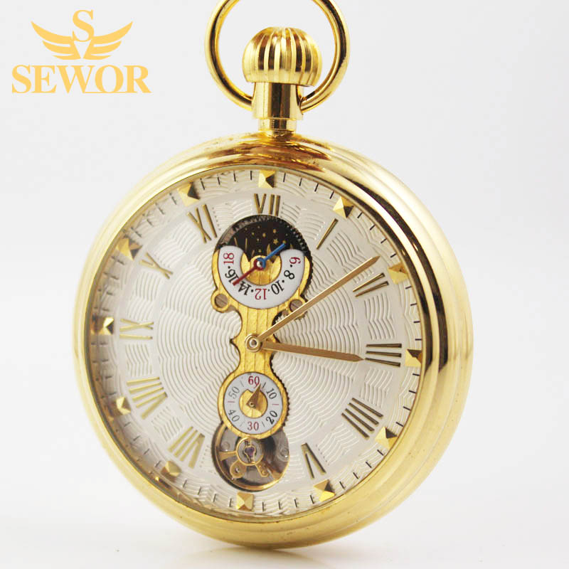2017 SEWOR Top Brand Selling version of the golden Roman numerals mechanical pocket watch C209