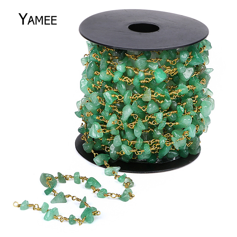 5 Meters Aventurine Gravel Cluster Rosary Chain Irregular Gem Stone Beads Bronze Green Copper Wrapped Rosary Beads Chain new us keyboard for acer aspire vn7 793g vx5 591g vx5 591g 52wn us laptop keyboard with backlit