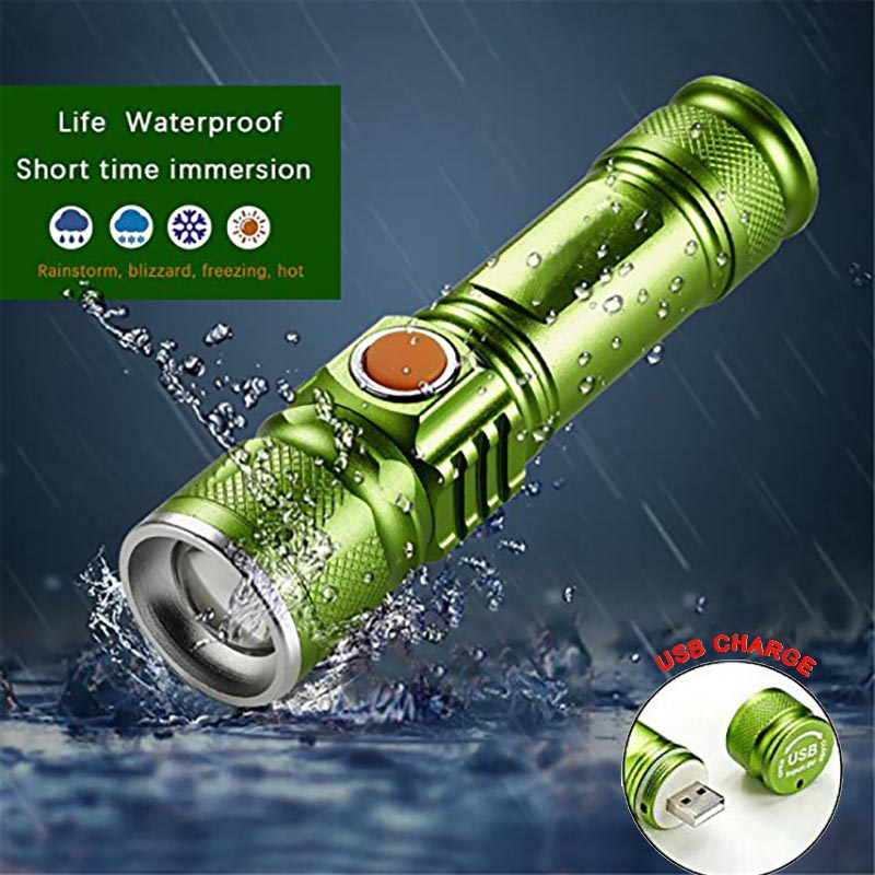 Bright 3 Modes 2000LM Built-in 18650 USB Rechargeable Flashlight Portable Lantern Waterproof Torch Zoomable Flash Light
