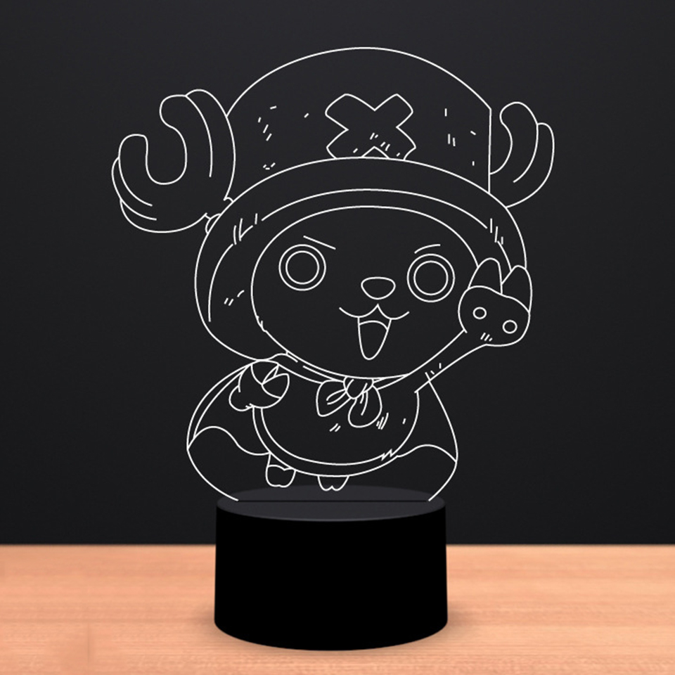 3D LED Bedroom Visual Desk Lamp USB Vision Anime One Piece Character Modelling Kids Gifts Night Lights Creative Lighting Fixture