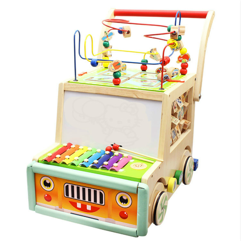 High Quality Wooden Multifunction No Rollover Caroon Baby Learning Step Hand push Walker Baby Walking Assistant Box For 6-18M BB джемпер caroon