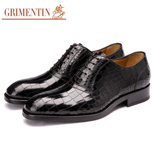 1e3cf8f629 US $361.0 |GRIMENTIN fashion custom mens dress shoes handmade real leather  sole luxury crocodile wedding shoes men flats for business G14 -in Formal  ...