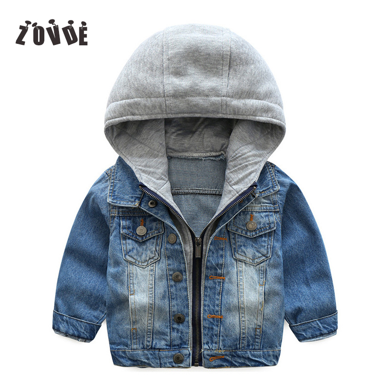 Baby Boys Girls Denim Jacket Embroidered Casual Hooded Cowboy Coat Jacket Boys Winter Autumn Outerwear Coat Boys Clothes