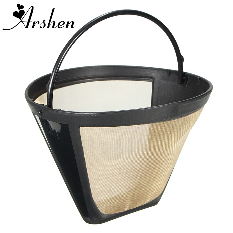 Arshen Reusable 10-12 Cup Coffee Filter Permanent Cone-Style Coffee Maker Machine Filter Gold Mesh With Handle Cafe Coffees Tool