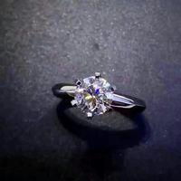 Кольца для женщин тесты положительный 1 карат муассанит кольцо белое золото обручение обручальное ювелирные украшения свадьбы