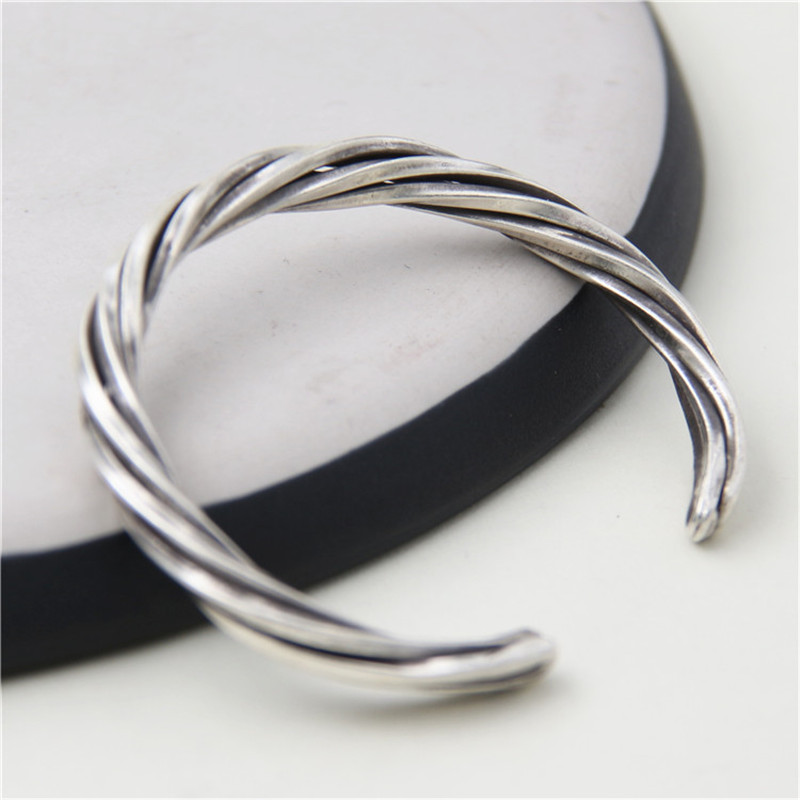 цена JINSE Women Men 999 Sterling Silver Twisted Bangle Handmade Vintage Thai Silver Open Bangle Jewelry WT028
