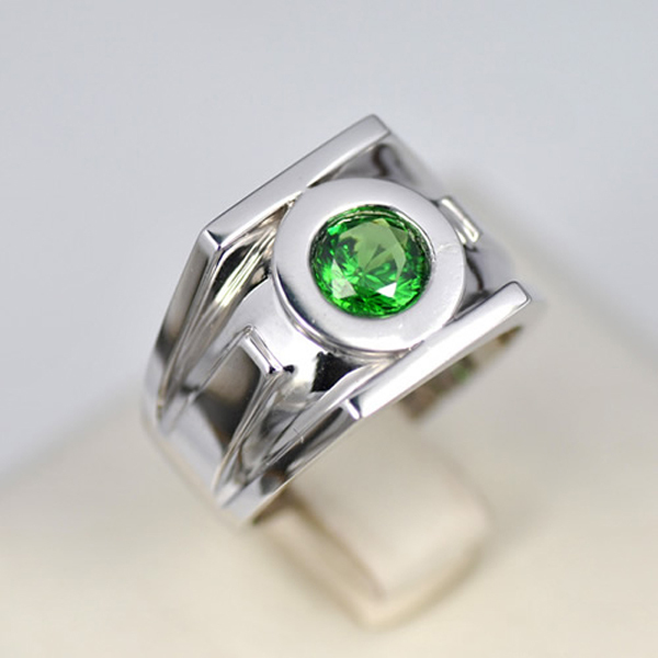 Online Free Shipping Genuine 18k Solid White Gold Green Lantern Wedding Rings