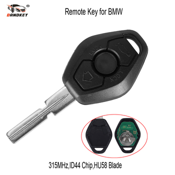 DANDKEY 10p Hu58 4 Buttons Remote Key Case For BMW E38 E39 E46 EWS System ASK 433MHz 315MHz PCF7935AA ID44 Chip Uncut Blade