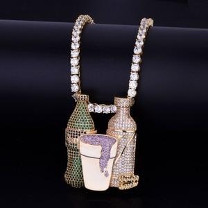 Image 5 - Double Sprite Bottle Purple Color Cup Hip Hop Pendant Necklace Gold Color Cubic Zircon Mens Jewelry With 4mm Tennis Chain