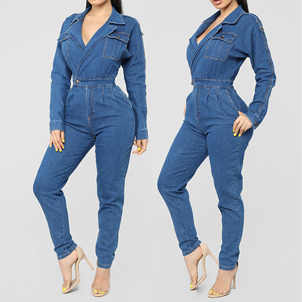 4f0c7a73cf4a 2019 Women Denim Jumpsuit 2019 Ladies Long Sleeve Jeans Rompers ...