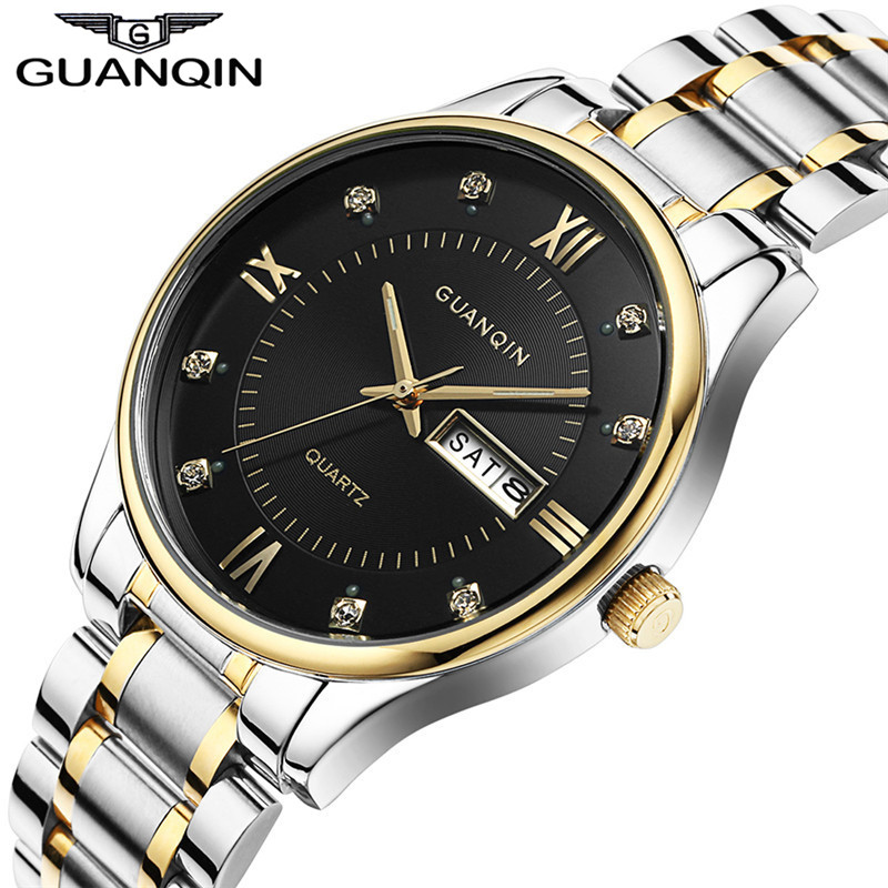 ФОТО  2017 Luminous Men Watch Original GUANQIN Brand Watch Men Quartz Waterproof Shockproof Male Clock Luxury Top Brand Wristwatches