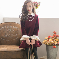 Korean new kids dresses for girls ling sleeve princess dress thickened winter children velour dresses