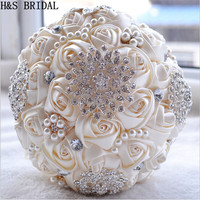 Gorgeous Wedding Flowers Bridal Bouquets Ivory White Artificial Wedding Bouquet Crystal Sparkle With Pearls 2015 Buque