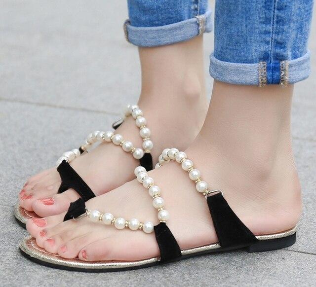 4150003f5cb new fashion pinch flat sandals women s flip-flop slippers pearl beaded  rhinestone comfortable flip flops 35-39