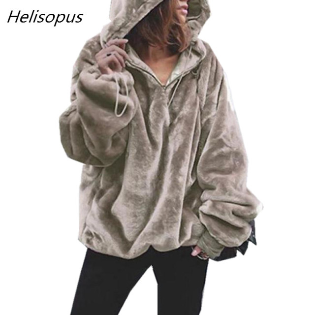 3fbacc66d Helisopus Autumn Winter Warm Sweatshirts Women Fur Fluffy Pullover Women's  Soft Casual Oversized Loose Hoodies And