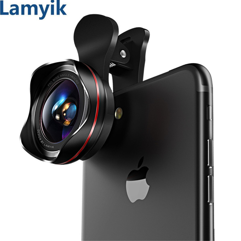 Lens for Mobile Smartphone Lens No Distortion Camera Profession HD 0.6X Wide Angle & 15X Super Macro Lens 180 Degree Fisheye Kit