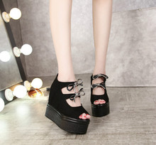 Women's shoes within the higher bow Slope with heavy-bottomed shoes Hollow fish head sandals