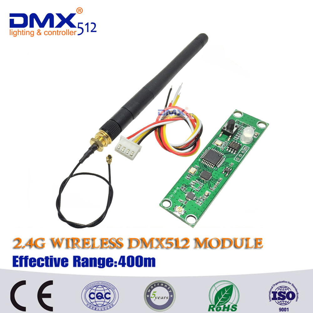 2.4Ghz Wireless DMX512 Transmitter PCB Module Board with Antenna LED Controller Wifi Receiver