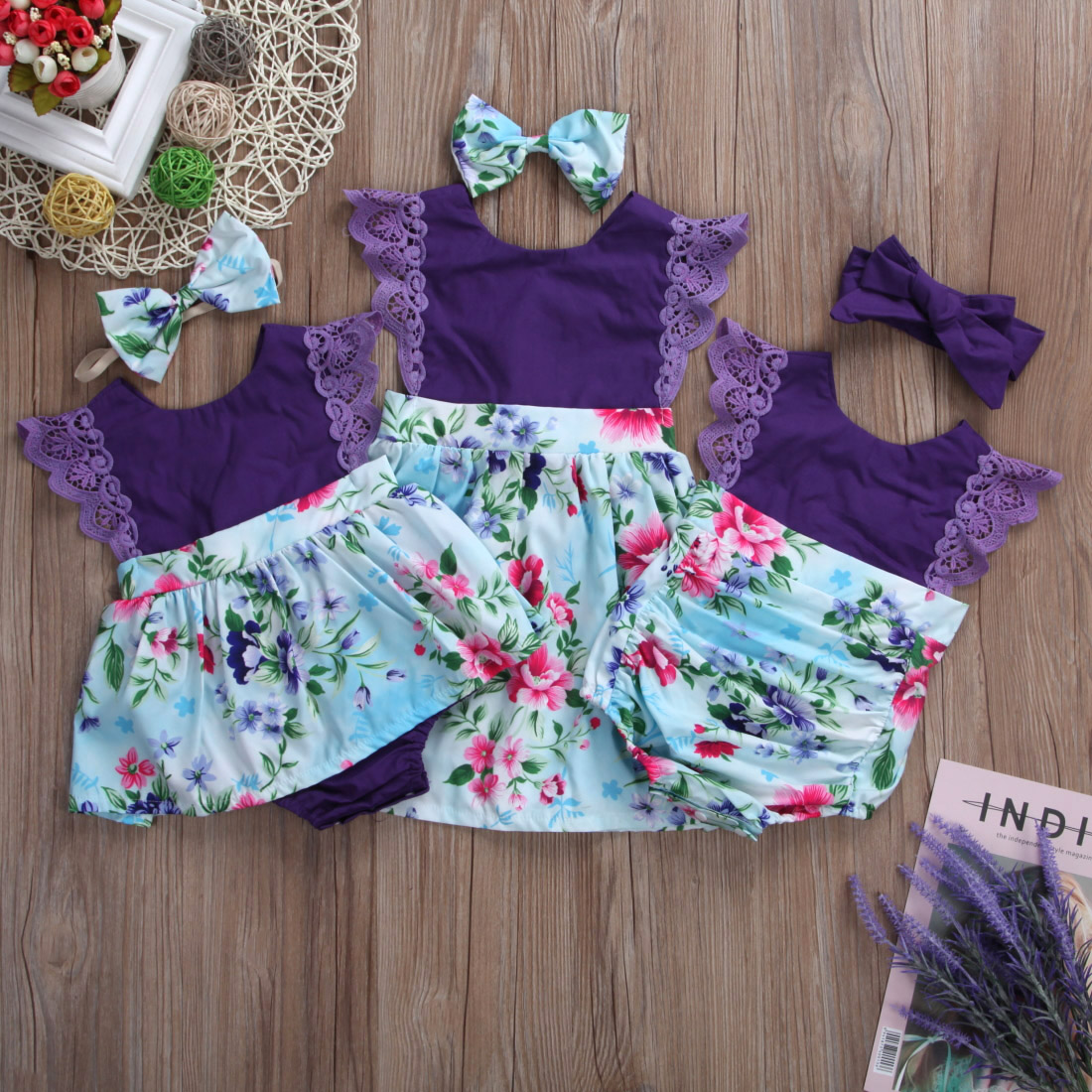 Princess 2Pcs Purple Flower Sister Matching Newborn Baby Jumpsuit Romper/Girl Dress Outfit