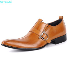 Brand 100% Genuine Leather Slip On Men Dress Shoes Business Shoes High Quality Buckle Italian Pointy Dress Shoes ntparker fashion men s leather shoes buckle strap pointy mteal front cap high heels business dress oxford shoes for men