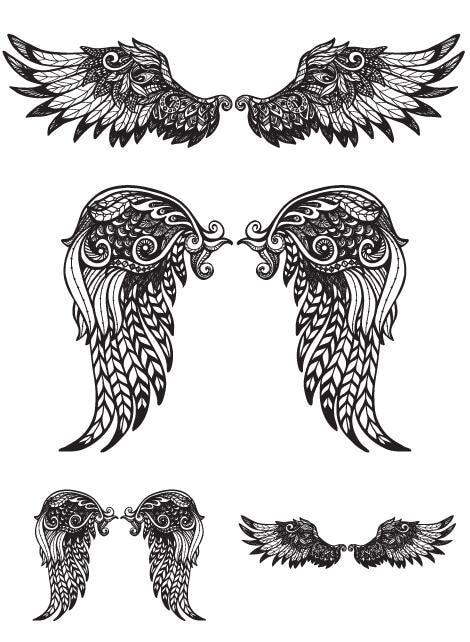 Waterproof Temporary Fake Tattoo Stickers Vintage Grey Angel Wings Elegant Large Design Body Art Make Up Tools