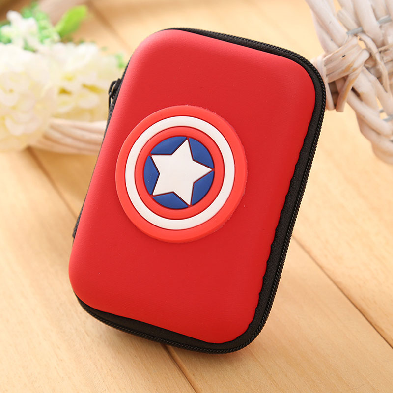 Lovely Cartoon Silicone Coin Purse Anime Super Hero Captain America Headphone Key Storage Bags EVA Boxes Zipper Pouch Wallets fashion coin purse wallets mini bag league creative personality canvas bags cartoon storage bags for cardholder in ear headphone