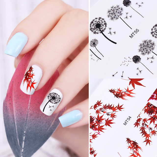 2 Sheets Maple Leaf Dandelion Water Decals Set Starry Sky Flash Nail