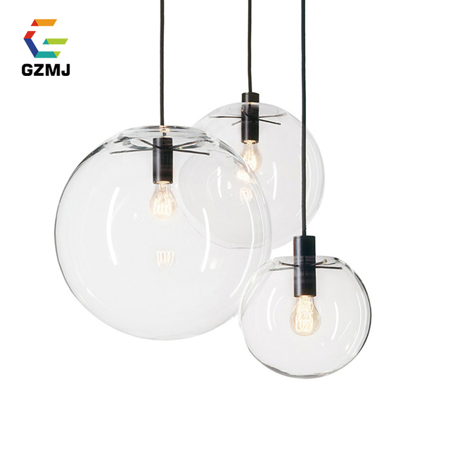 Gzmj Led Pendant Lights Globe Chrome Gl Ball Lamp Re Suspension Kitchen Fixture E27