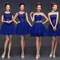 Pretty Fashion 2016 Azul Real Una Línea Corta Vestidos de Damas de honor, Purple Champagne marfil baratos vestidos de Baile y vestidos de dama de honor dresse