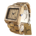 BOBO BIRD L24 Rectangle Zebra Mens Wooden Wrist Watch Top Brand Luxury Quartz Watches with Full Wooden Band in Gift Box