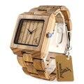 Bobo bird l24 rectángulo cebra mens reloj de pulsera de madera superior marca de Lujo Relojes de Cuarzo con la Banda De Madera Llena de Regalo caja