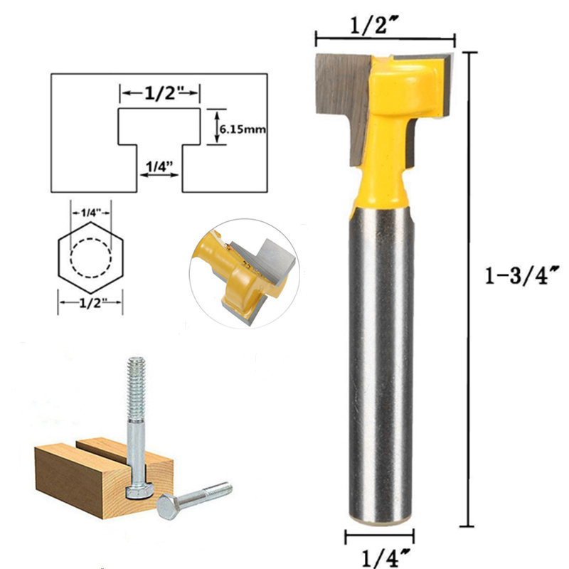 цена на 1PC 6mm 1/4 Inch Shank T-Slot Cutter Router Bit 1/2 Length Wood Milling Cutter Woodworking Drill Bit Tool for Trim Router