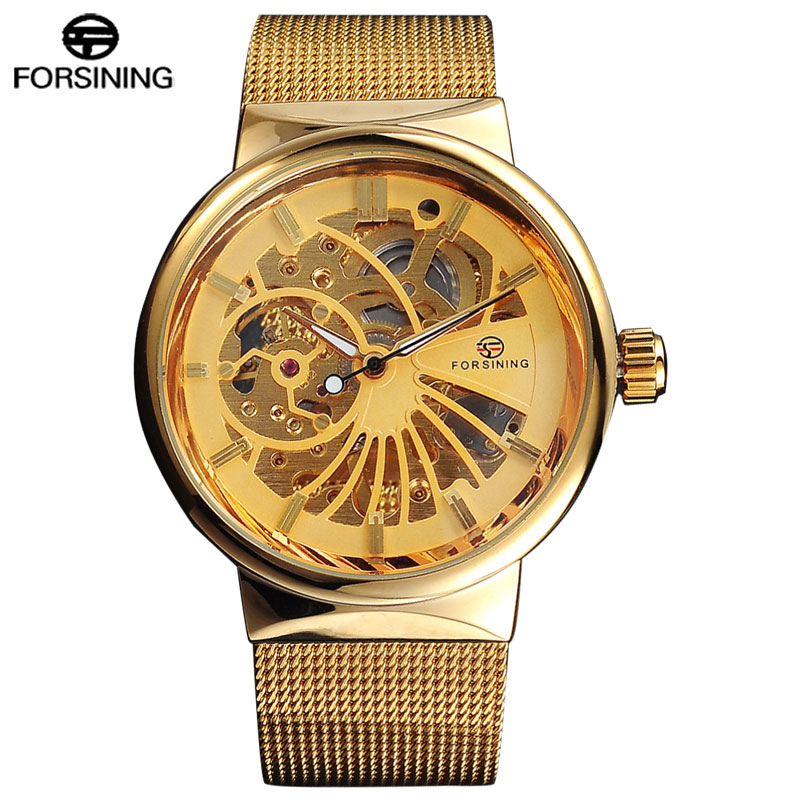 New Arrival FORSINING Brand Men Mechanical Watches Skeleton Casual Watch Gold Stainless Steel Hand Wind Clock Relogio Masculino forsining gold hollow automatic mechanical watches men luxury brand leather strap casual vintage skeleton watch clock relogio