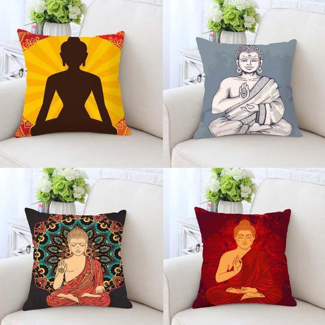 Buddha Cushion Cover Statue Gold Zen Meditation Elephant Mandala Stunning Buddha Decorative Pillows