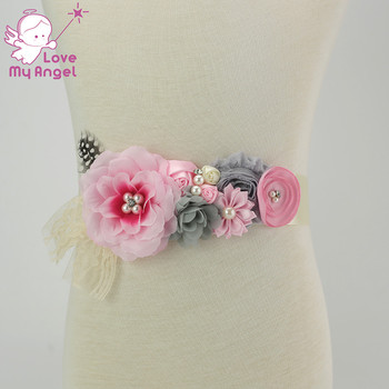 1pcs pink fabric silk flower Maternity sash pink gray chiffon satin lace feather belt with flowers baby photo prop