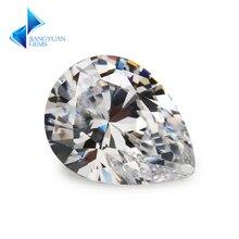 50pcs 2x3~13x18mm Pear Shape 5A White CZ Stone 2x3-13x18mm Synthetic Gems Cubic Zirconia For Jewelry