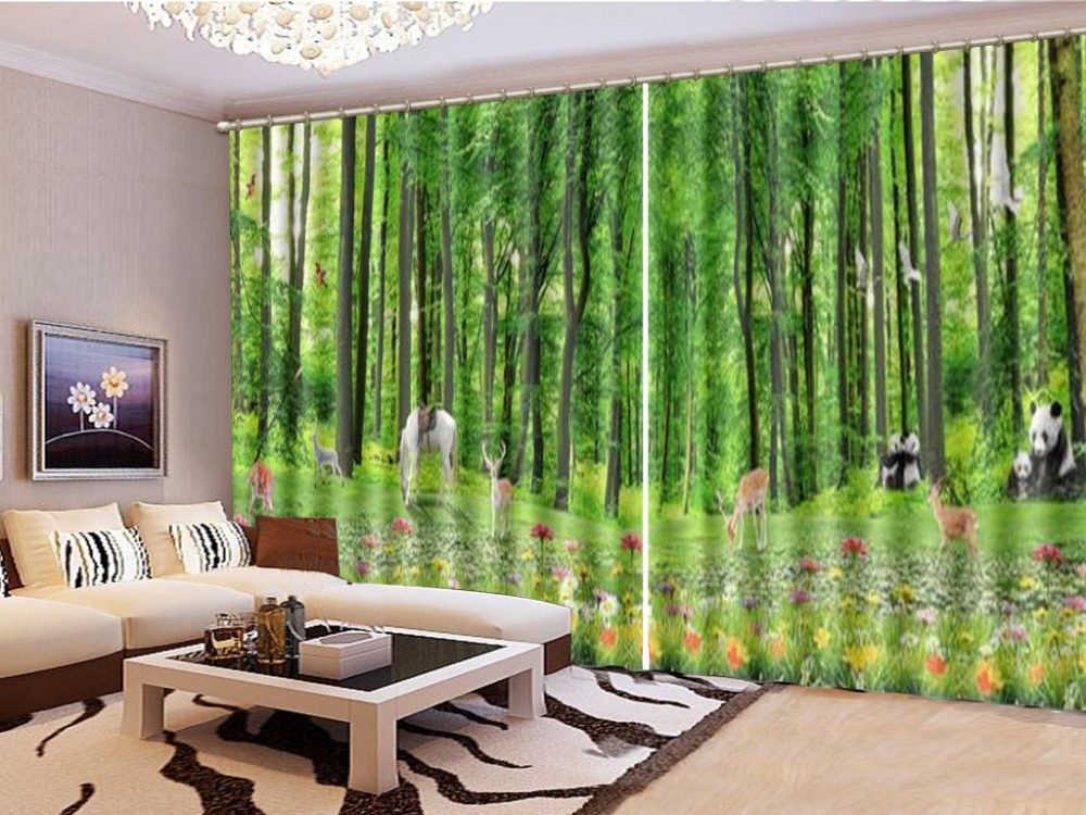 Wholesale Curtain Beautiful Forest Flowers, All Over The Animals, Groups Of 3D Landscape Curtains, Beautiful And Satisfied Curta