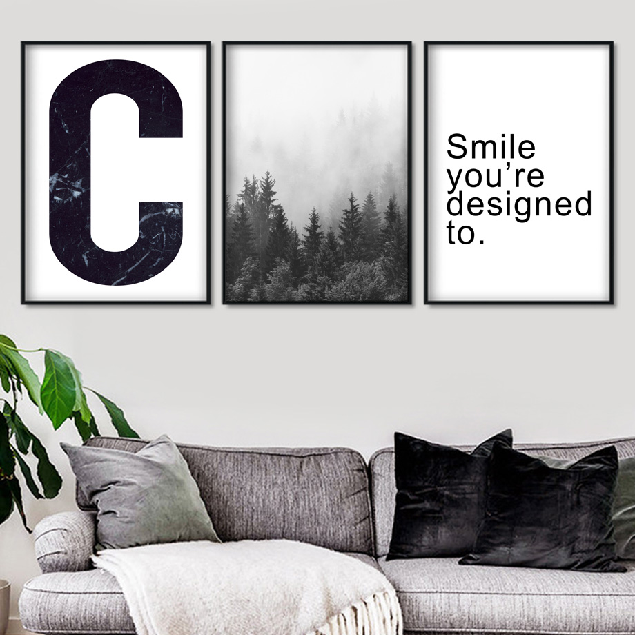 White Black Forest Quote Landscape Wall Art Canvas Painting Nordic Posters And Prints Wall Pictures For Living Room Decor in Painting Calligraphy from Home Garden