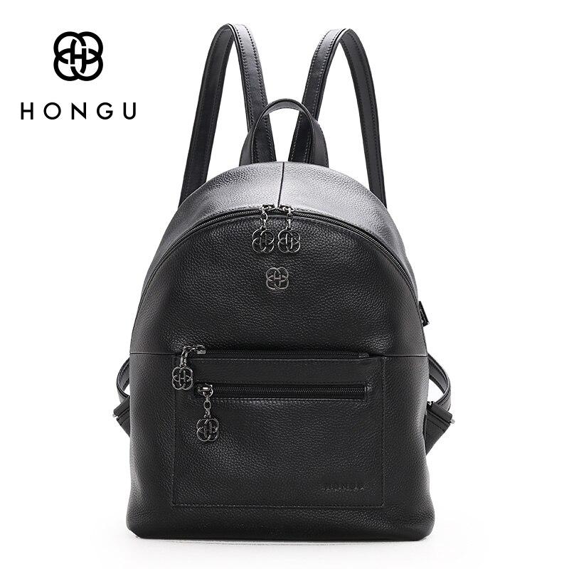 HONGU 2017 New Genuine Leather Backpack Fashion Simple Leisure Bags Large Schoolbag Travel Bag A
